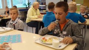 Skoleleverna i Houtskär får närproducerad mat men också här finns en del tillsatser.
