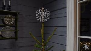 En julgransstjärna gjord av toarullar, i toppen på en gran.
