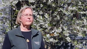 Kvinna framför blommande körsbärsträd.