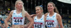 Sara Kuivisto, Zenitha Eriksson och Aino Paunonen, Sverigekampen 2017.
