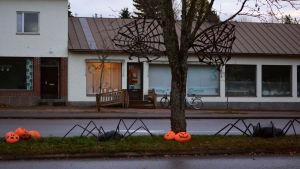 En gata är dekorerad med halloweenpumpor, spindlar och spindelväv.