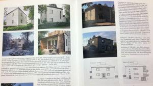 Ett uppslag i en bok med bilder på hus och text som berättar om husen på bilderna.