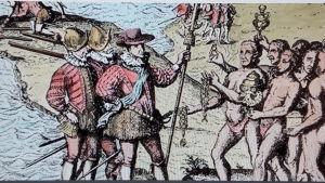 Columbus möter ursprungsbefolkningen på de karibiska öarna