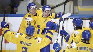 Sverige firar Erik Brännströms mål mot Finland.