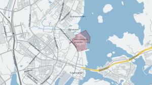 Karta över Hermanns strand i Helsingfors och den nya byggnaderna som planeras där.