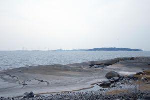 Fotomontage av havsvindkraftsparken sett från Påvskär