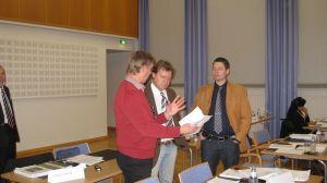 Peter Björklöf, Marko Reinikainen och Niklas Andersson i Raseborgs fullmäktige.