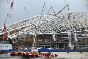 Byggarbeten i Olympiaparken i Adler