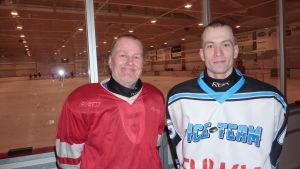 Träningschef Ossi Rautio och juniortränare André Lindqvist från Ice Team Raseborg.