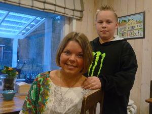 Mamma Sofia Stolpe 28 år och sonen Sebastian 12 år