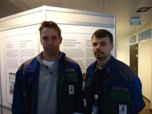 Harri Korpi och Markus Pyykönen vid Ingå kolkraftverk