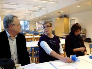 Stadsarkitekt Markku Partanen, vd Annika Malms-Tepponen samt kostservicechef Birgitta Creutziger.