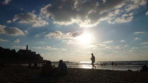 Stranden utanför Jaffa i Tel Aviv