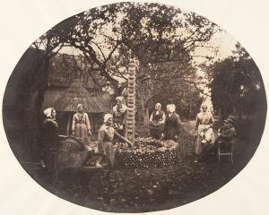 Women Stacking Carrots, Louis-Pierre-Théophile Dubois de Nehaut (Belgian, 1799–1872)