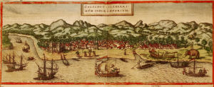A panorama of Calicut, on the Malabar coast, shows several types of ships, shipbuilding, net fishing, dinghy traffic and a rugged, sparsely populated interior. Georg Braun and Franz Hogenbergs atlas Civitates orbis terrarum, 1572 / CIVITATES ORBIS TERRARU