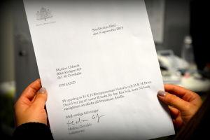 Tackbrevet Martina Uthardt fick från svenska hovet.