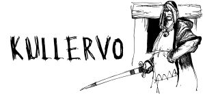 Kullervo seisoo miekka kädessä ovella (piirros).