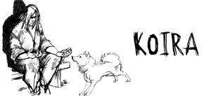 Kullervo istuu penkillä koira vieressänsä (piirros).