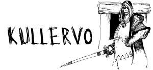 Kullervo seisoo miekka kädessä ovella (piirros, englanniksi).