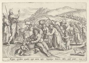 Raamatun kuvaama eksodus, Mooses johdattaa. Kuvitusta teokseen Thesaurus Sacrarum Historiarum Veteris Testamenti. Antwerpen: Gerard de Jode, 1579.