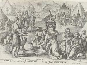 Heprealaiset ja mannaa. Johann Sadelerin piirros vuodelta 1579, painettu 1643.