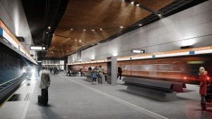 Arkitektens illustration av Aalto-universitets metrostation.