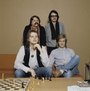 Juha Orma, Riki Sorsa (sitter), Pedro Hietanen och Jim Pembroke(stående).