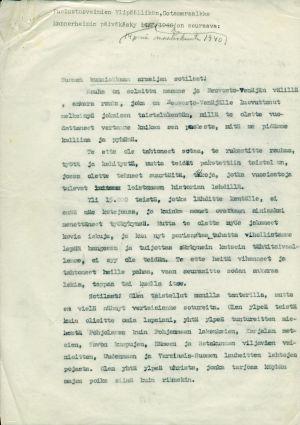 Ylipäällikkö Mannerheimin päiväkäsky 14. maaliskuuta 1940, ensimmäinen sivu.