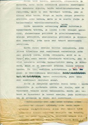 Ylipäällikkö Mannerheimin päiväkäsky 14. maaliskuuta 1940, toinen sivu.