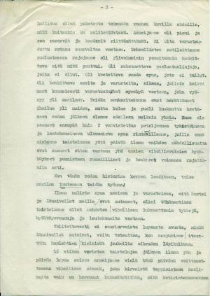 Ylipäällikkö Mannerheimin päiväkäsky 14. maaliskuuta 1940, kolmas sivu.
