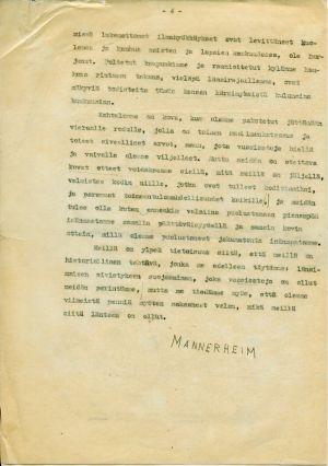 Ylipäällikkö Mannerheimin päiväkäsky 14. maaliskuuta 1940, neljäs sivu.