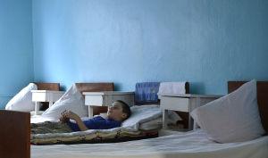 Ett cancersjukt barn i Ukraina.