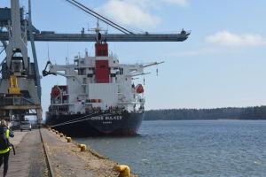 Fartyget Chise Bulker exporterar fodervete från Ingå till Spanien.