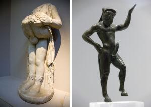 vasen, Priapus 2nd century AD, antiikin, veistos, oikea, Satyr,