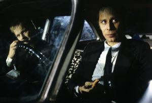 Vesa Vierikko ja Markku Maalistaa Katsastus-elokuvan kuvauksissa vuonna 1988.