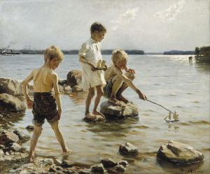 Albert Edelfelt: Lekande pojkar vid stranden