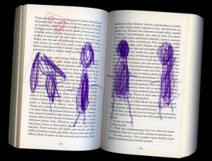 lasten piirroksia romaanin sivuilla