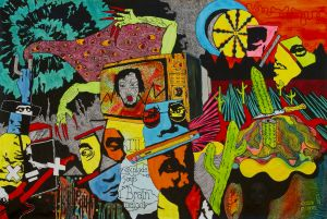 Psykedeliska, färggranna figurer på målning.