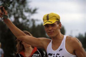 Triathlonisti Pauli Kiuru vuonna 1988 kuvattuna.