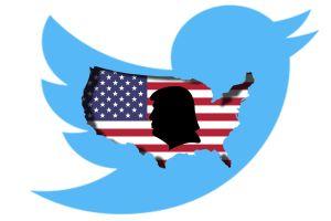 En symbolisk bild på Donald Trumps silhuett inom den amerikanska flaggan som ligger inuti Twitter-fågeln.