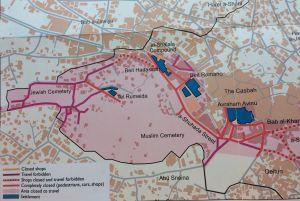 Karta över stadskärnan i Hebron.
