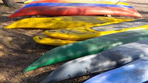 kanootteja rannalla