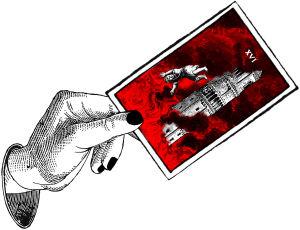 Kädessä tarot-kortti, ennustaminen, linna, liekit