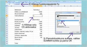 Excel kuva 4 - summafunktion käyttäminen