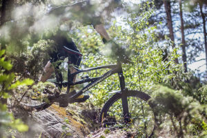 Matti Lehikoinen ajaa maastopyörällä alas kalliolta kapeaa polkua pitkin.