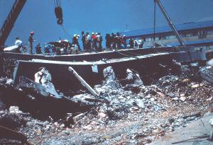 Mexico Citys centralsjukhus som raserades av jordskalvet 1985.