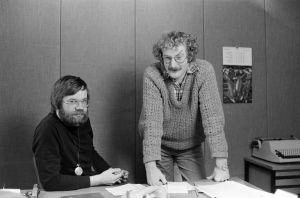 Käsikirjoittaja Jussi Tuominen ja käsikirjoittaja, henkilöohjaaja Neil Hardwick.