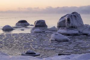 Stenar vid en frusen strand