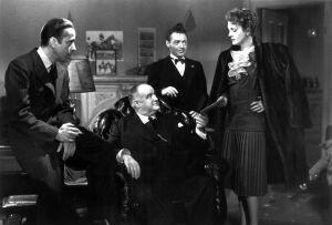 Humphrey Bogart, Sydney Greenstreet, Peter Lorre ja Mary Astor elokuvassa Maltan haukka