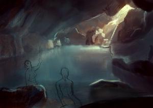 En tecknad bild av en grotta med vatten i. Bredvid vattnet, på några stenar, sitter två kvinnor som är ritade i blyerts.